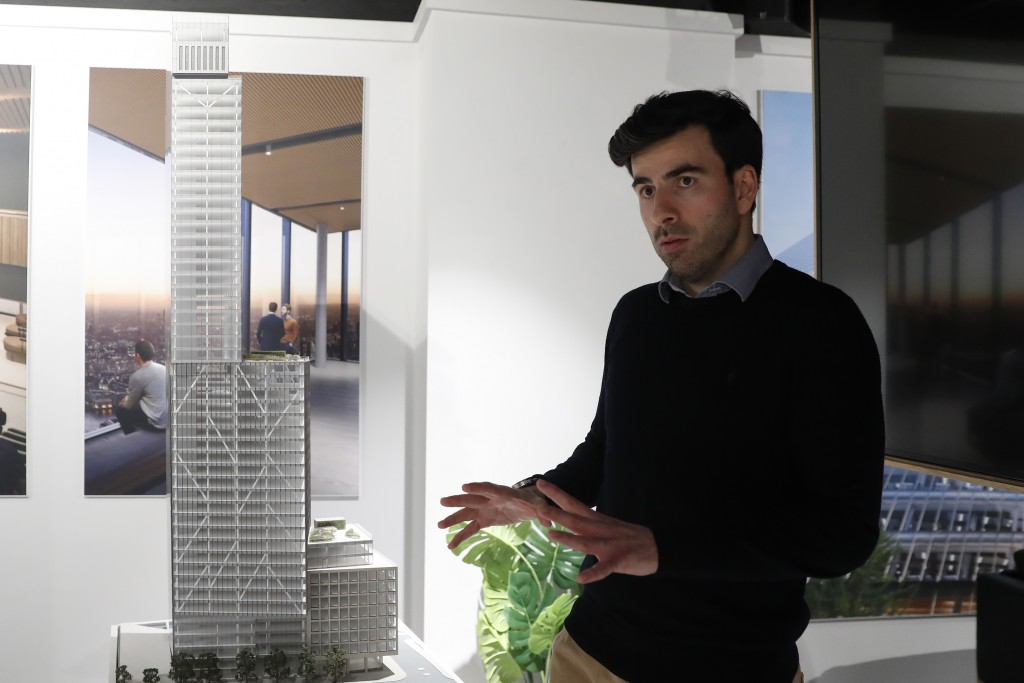 Kevin Darvishi leasing Director for the 8 Bishopsgate development speaks to the Associated Press at their marketing suite in London, Thursday, April 1...