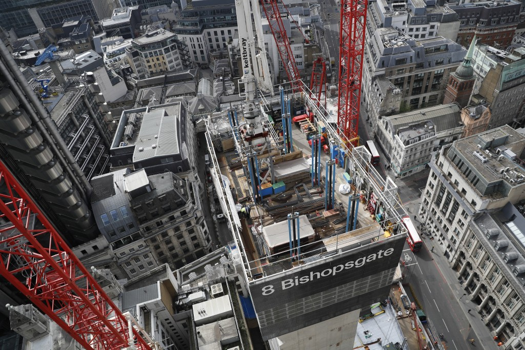 A view looking down from the top of the north central column of the 8 Bishopsgate development in London, Thursday, April 1, 2021. When the pandemic st...
