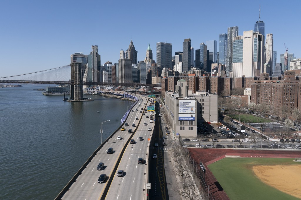 Vehicles drive along the FDR Drive in New York, part of the city's aging infrastructure, Tuesday, April 6, 2021. With an appeal to think big, Presiden...