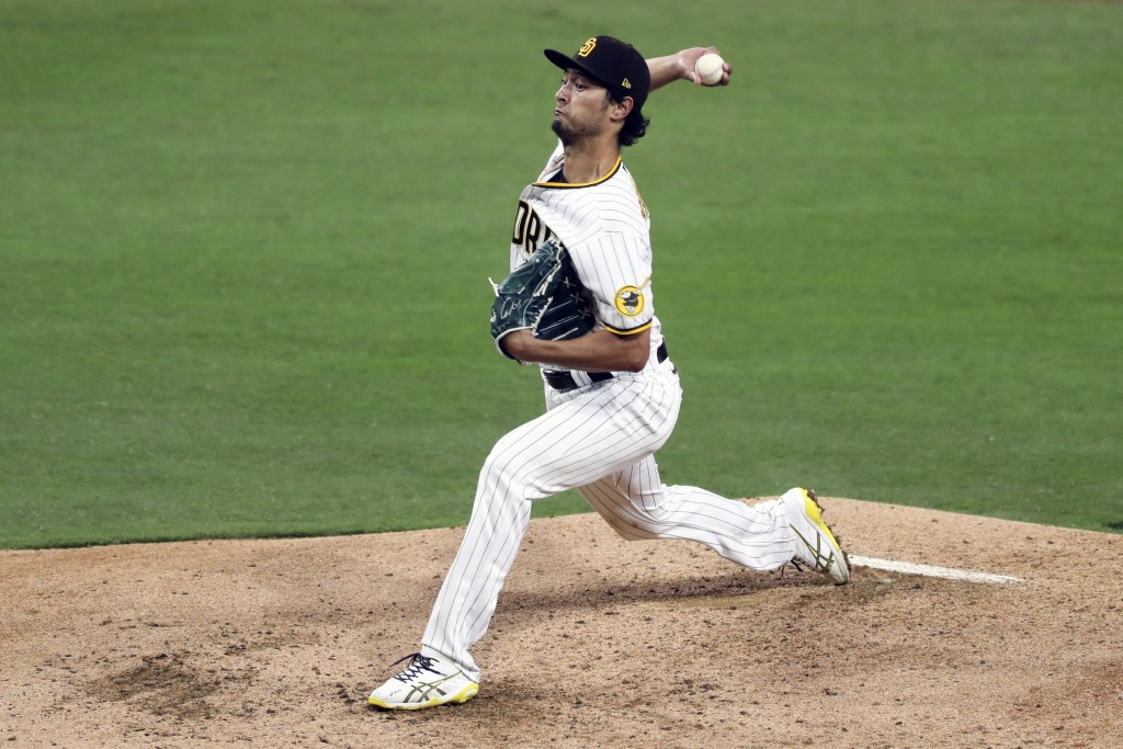 San Diego Padres starting pitcher Yu Darvish throws against the San Francisco Giants in the fifth inning of a baseball game Tuesday, April 6, 2021, in...