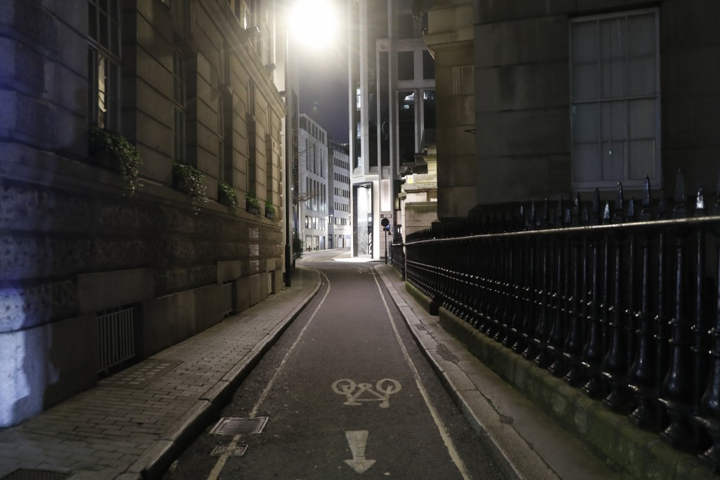 A view of an empty Gutter Lane in the City of London on Saturday, March 6, 2021. When the pandemic struck, about 540,000 workers vanished from London'...