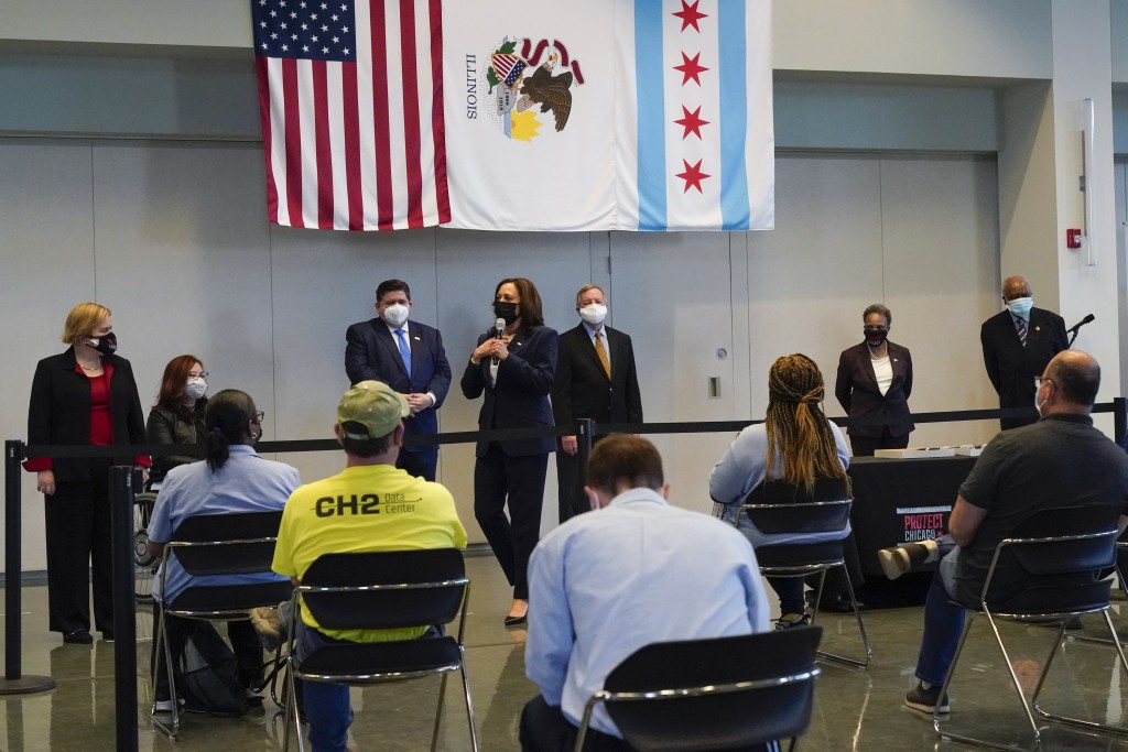 Vice President Kamala Harris speaks at a COVID-19 vaccination site, Tuesday, April 6, 2021, in Chicago. The site is a partnership between the City of ...