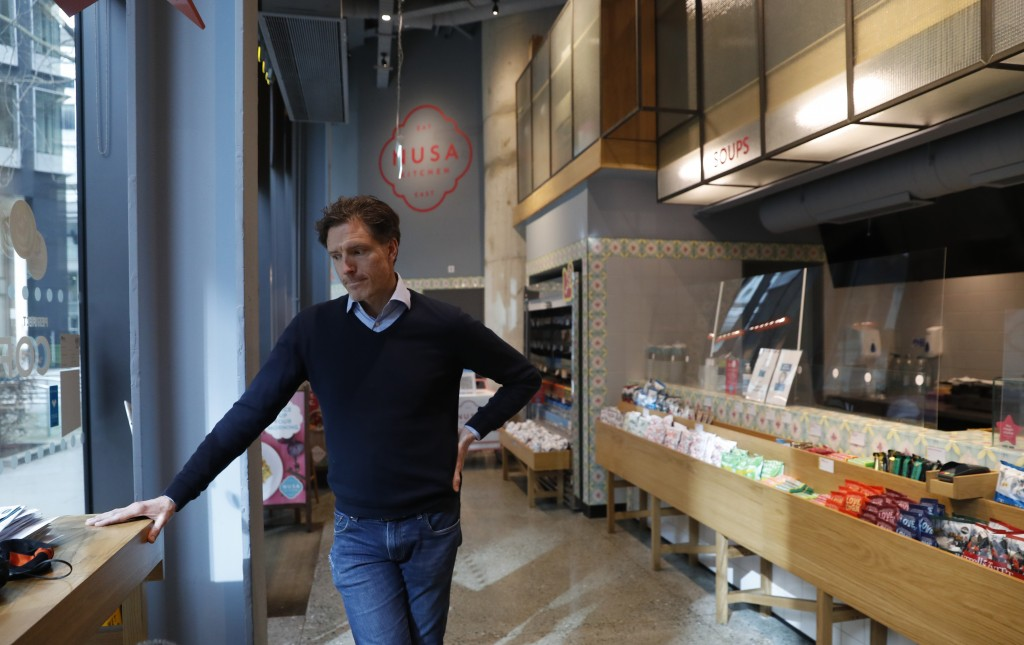Hubert Zanier, CEO of Nusa Kitchen speaks to the Associated Press at Holborn in London, Thursday, April 1, 2021. Zanier, who co-owns a chain of Southe...