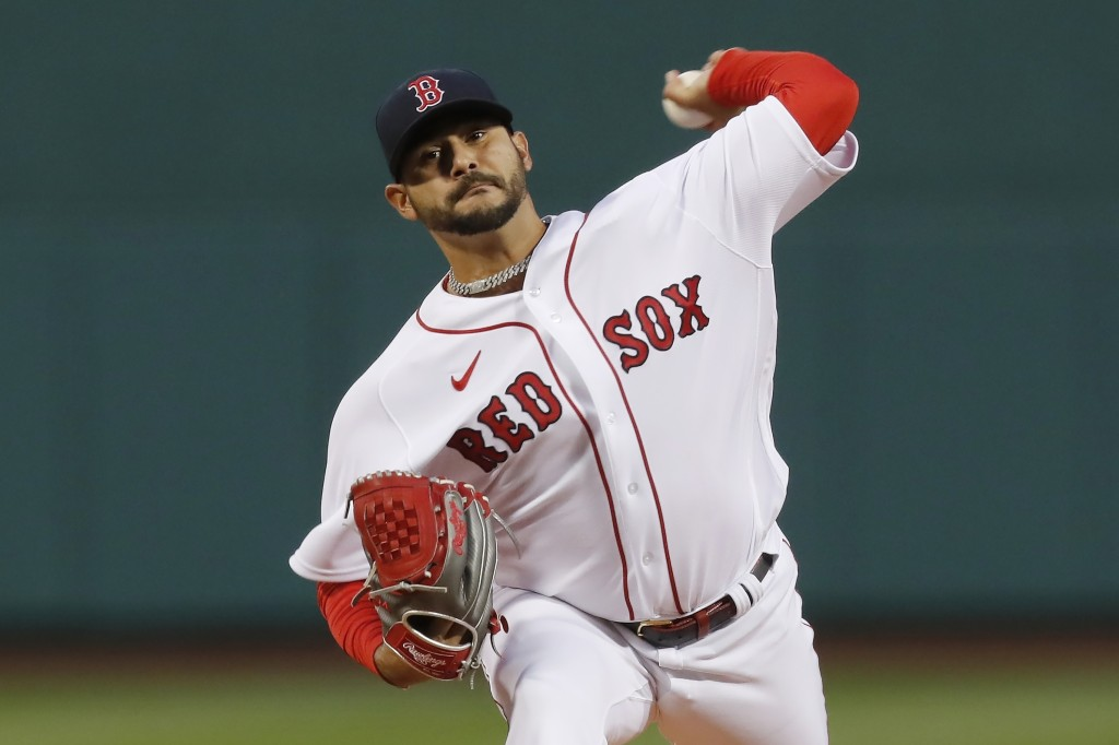 Boston Red Sox's Martin Perez pitches during the first inning of the team's baseball game against the Tampa Bay Rays, Tuesday, April 6, 2021, in Bosto...