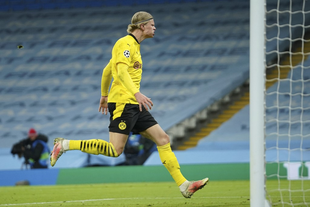 Dortmund's Erling Haaland is dejected after missing an opportunity to score during the Champions League, first leg, quarterfinal soccer match between ...