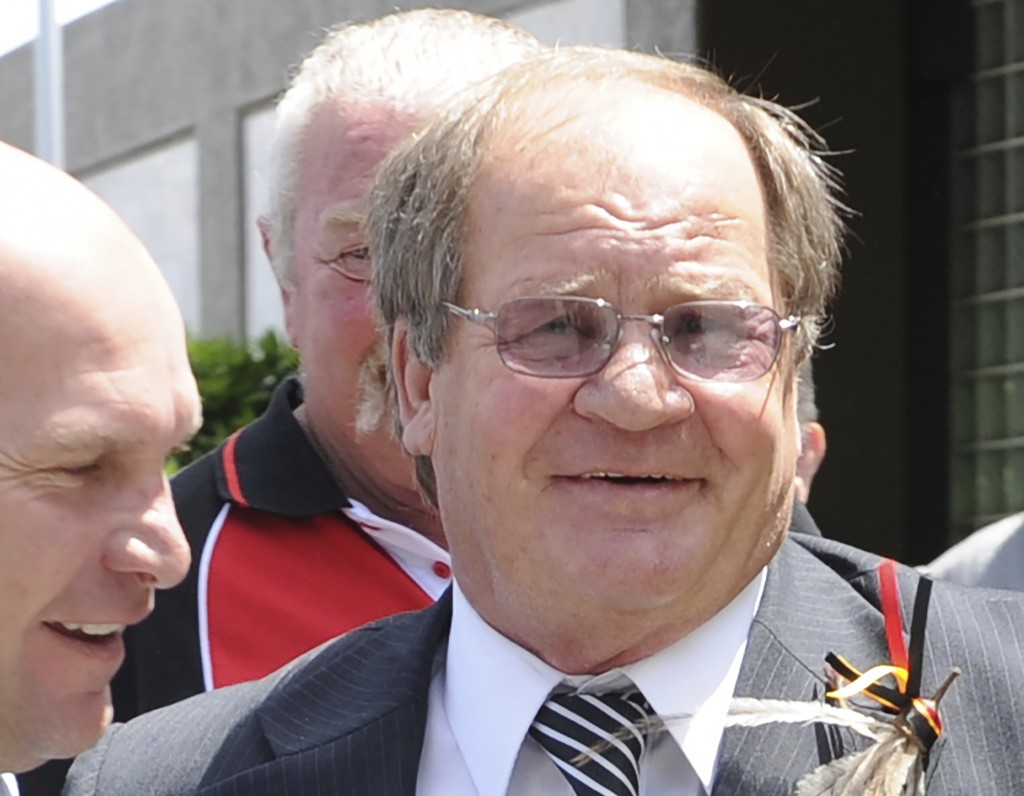 In this Dec. 9, 2011, photo, former rugby league player Tommy Raudonikis with Alan Langer, left, arrives at Artie Beetson's funeral at the Redcliffe L...