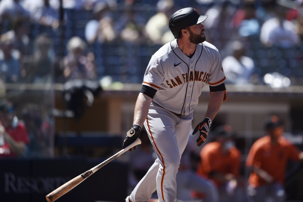 San Francisco Giants' Darin Ruf looks up after hitting a two-run home run during the second inning of a baseball game against the San Diego Padres in ...
