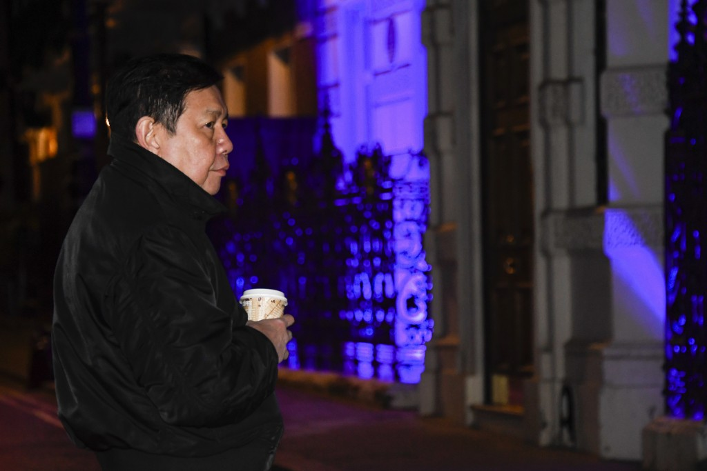 Kyaw Zwar Minn, the Myanmar ambassador, stands outside the Myanmar Embassy in London, Wednesday, April 7, 2021. Newspaper reports say the embassy was ...