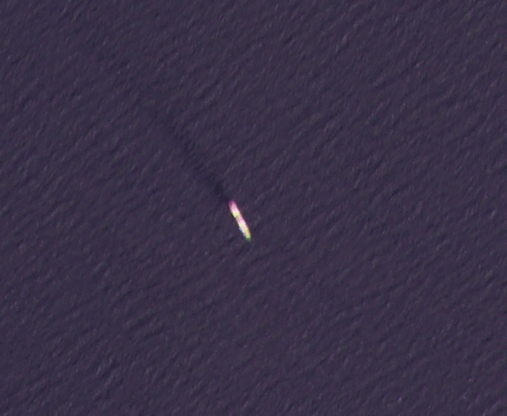 This Wednesday, April 7, 2021, satellite photo by Planet Labs Inc. shows the MV Saviz in the Red Sea as it leaks oil. An attack Tuesday on the Iranian...