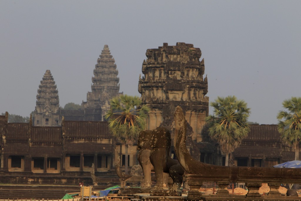 FILE - In this March 3, 2018, file photo, a view from outside Angkor Wat temple is seen in Siem Reap, northwestern Cambodia. Cambodia is closing the A...