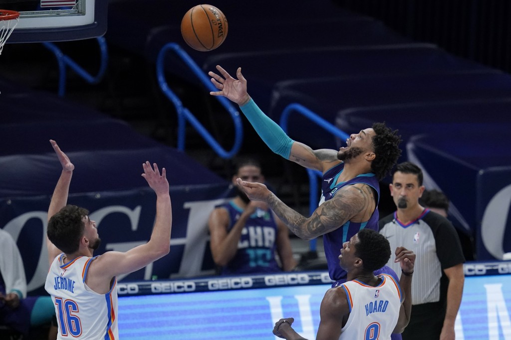 Charlotte Hornets forward Miles Bridges, rear, shoots in front of Oklahoma City Thunder guard Ty Jerome (16) and forward Jaylen Hoard (8) in the first...