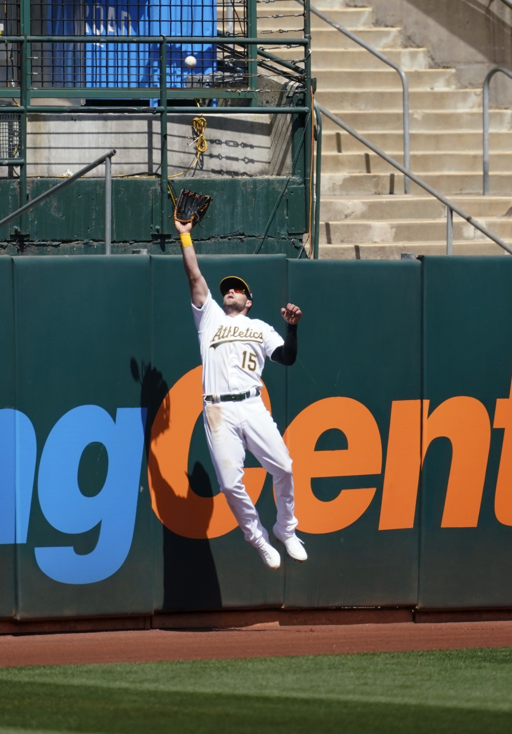 Oakland Athletics left fielder Seth Brown catches a fly out hit by Los Angeles Dodgers' Austin Barnes during the fourth inning of a baseball game in O...