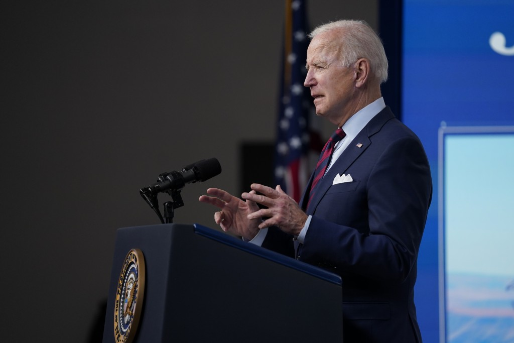 President Joe Biden speaks during an event on the American Jobs Plan in the South Court Auditorium on the White House campus, Wednesday, April 7, 2021...