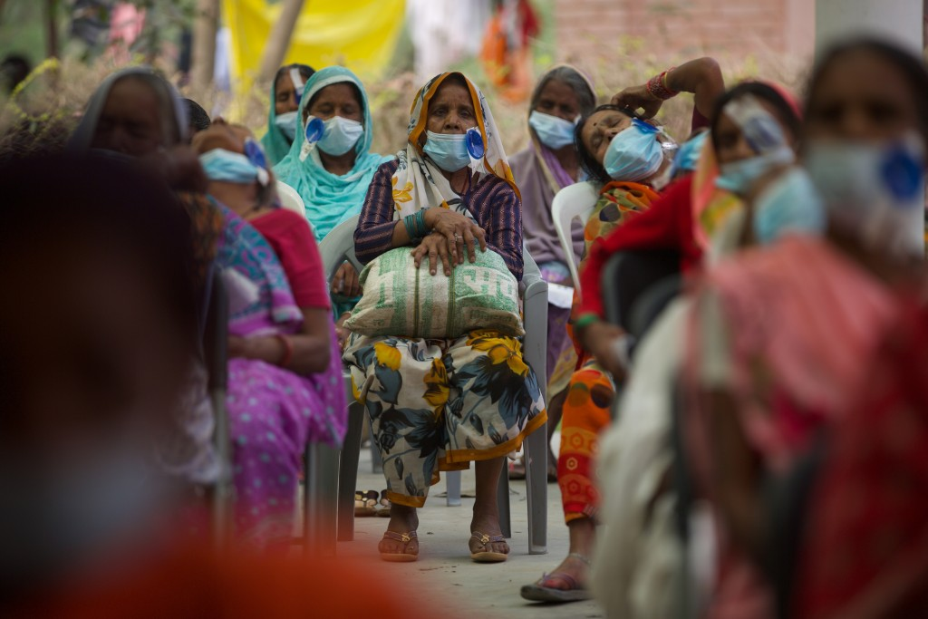 Nepalese patients wait for their follow up after cataract surgery with Dr. Sanduk Ruit at an eye camp in Lumbini, 288 kilometers (180 miles) south wes...