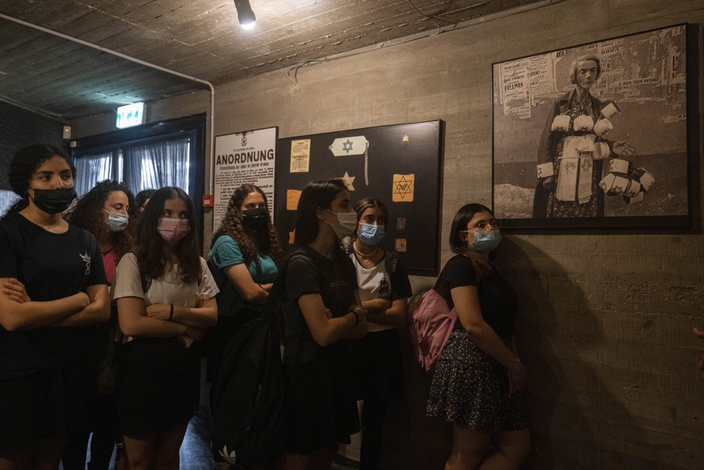 """Israeli students visit at the museum """"From Holocaust to Revival"""" on the eve of Holocaust Remembrance Day, in Kibbutz Yad Mordechai, Israel, Wednesday,..."""