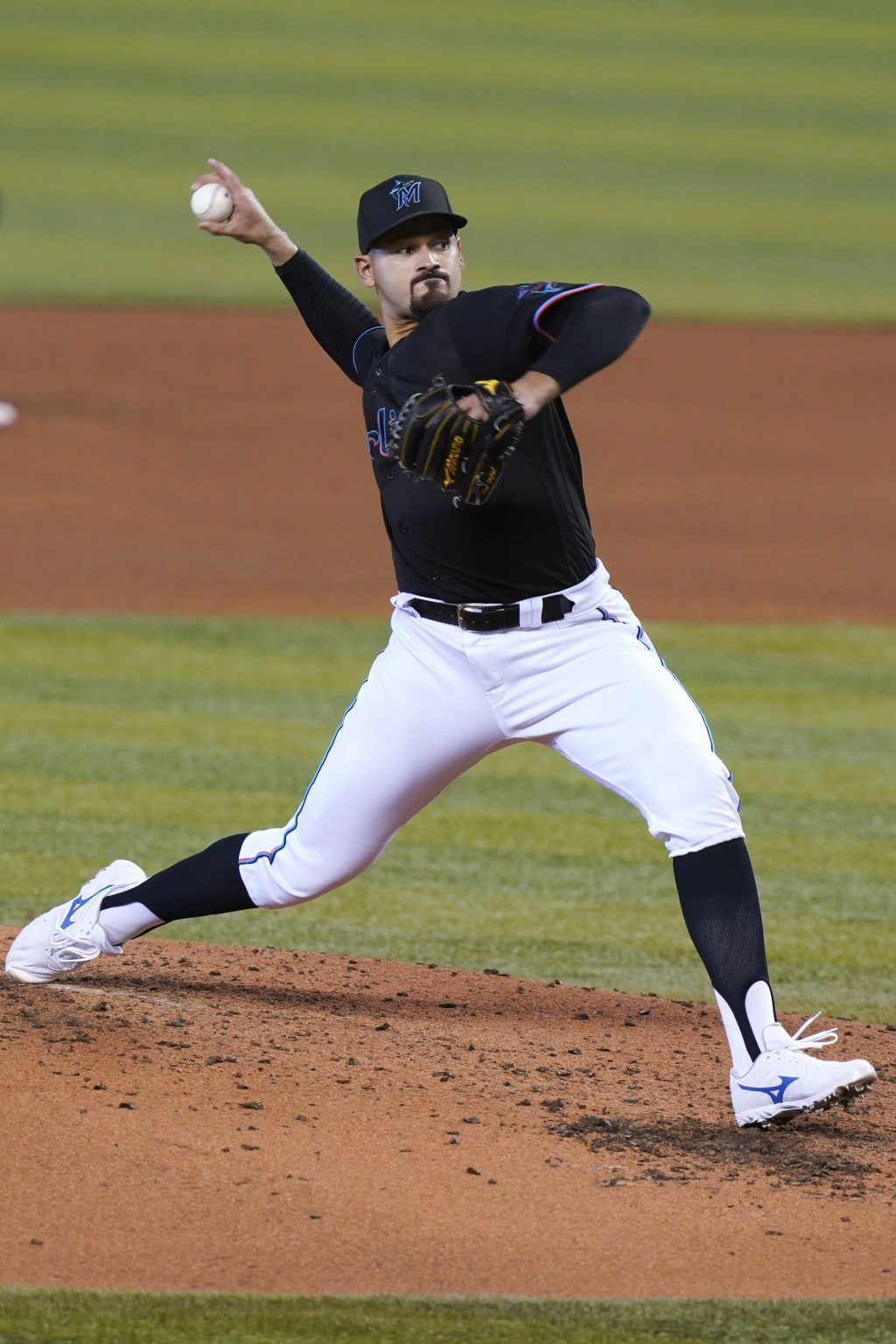 Miami Marlins starting pitcher Pablo Lopez throws during the third inning of the team's baseball game against the St. Louis Cardinals, Wednesday, Apri...
