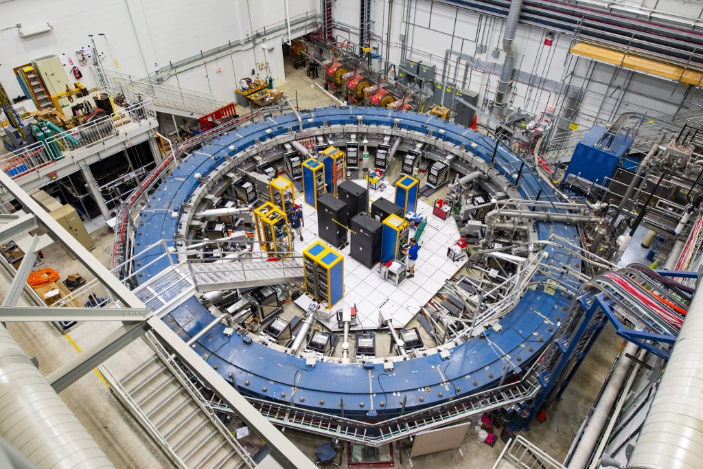 This August 2017 photo made available by Fermilab shows the Muon g-2 ring at the Fermi National Accelerator Laboratory outside of Chicago. It operates...