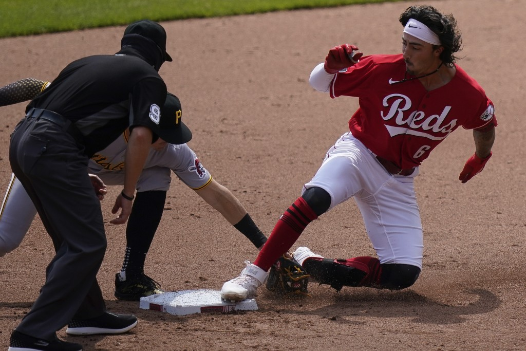 Cincinnati Reds' Jonathan India (6) is tagged out at second base during the seventh inning of a baseball game against the Pittsburgh Pirates at Great ...
