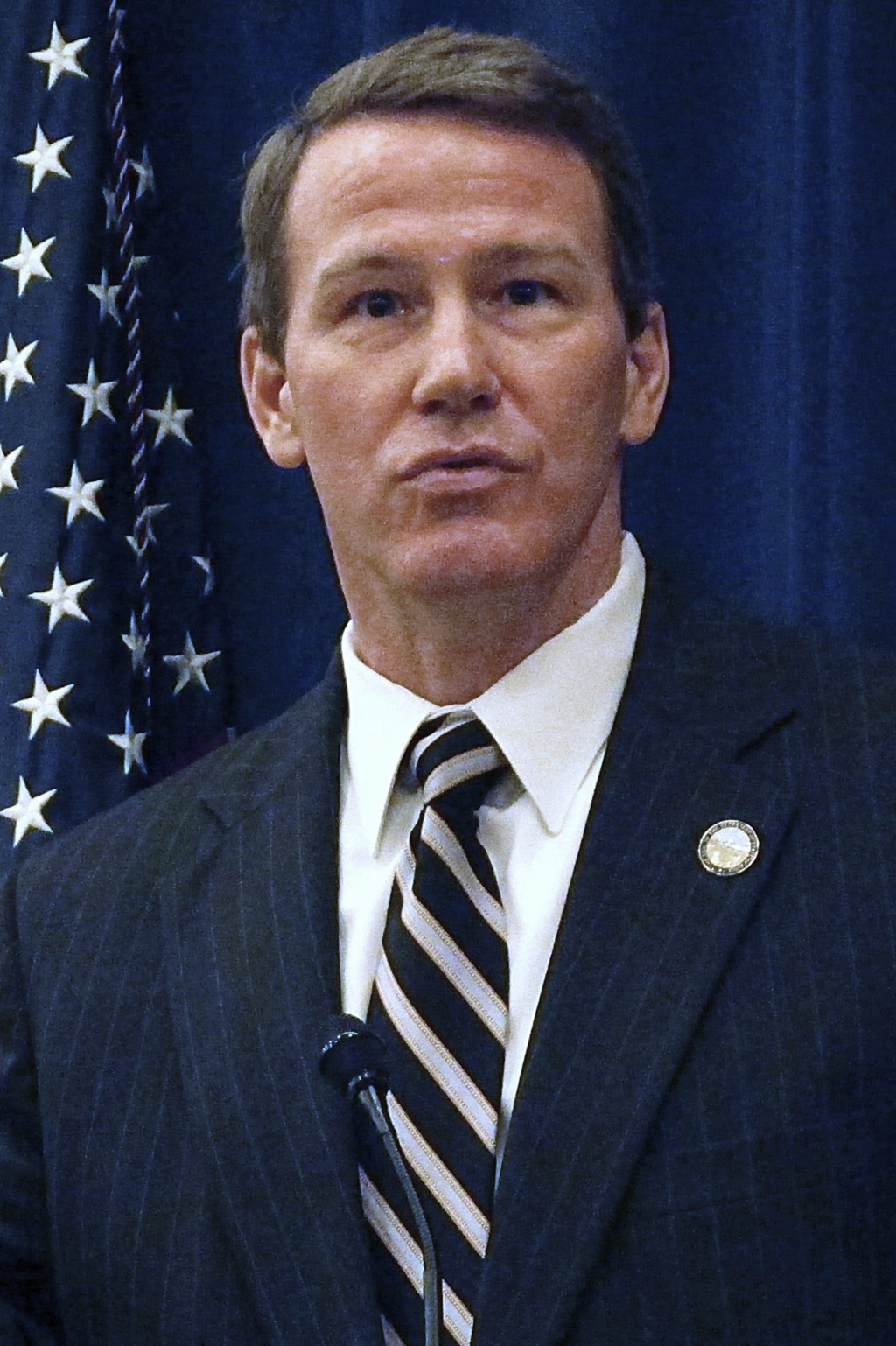 FILE - In this Jan. 30, 2014, file photo, then the Ohio Secretary of State, Jon Husted, speaks at a legislative forum in Columbus, Ohio. Now the curre...