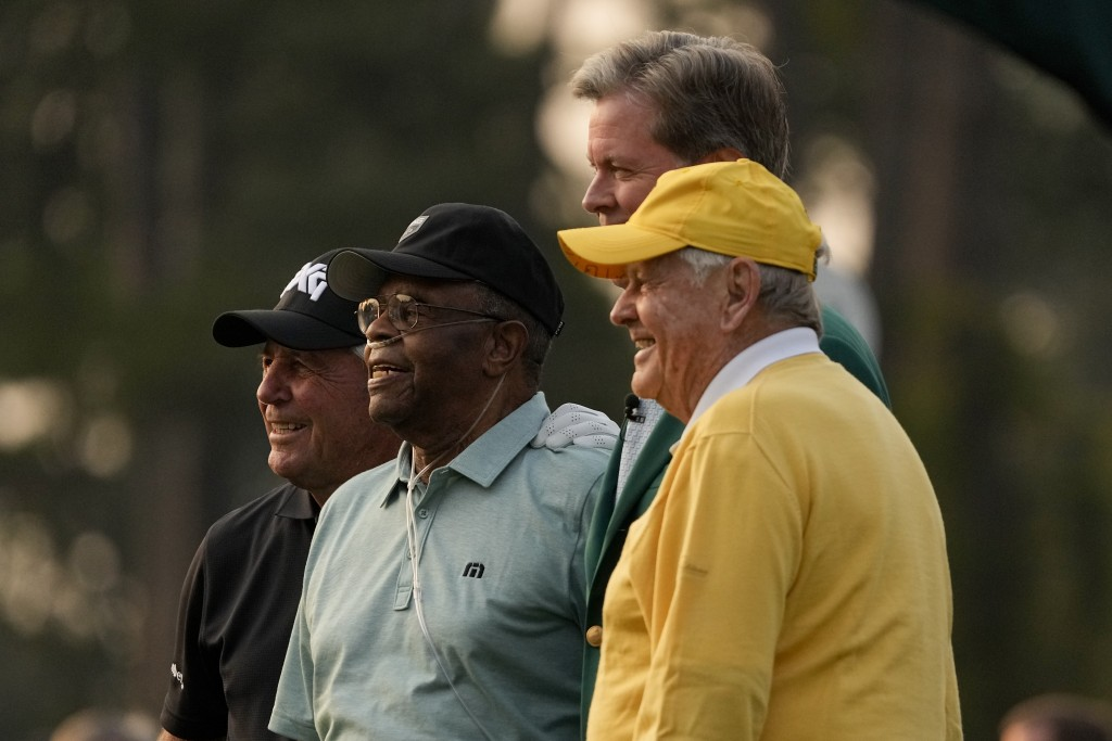 From left, Gary Player, Lee Elder, Fred Ridley, chairman of Augusta National Golf Club and the Masters Tournament and Jack Nicklaus pose after the cer...
