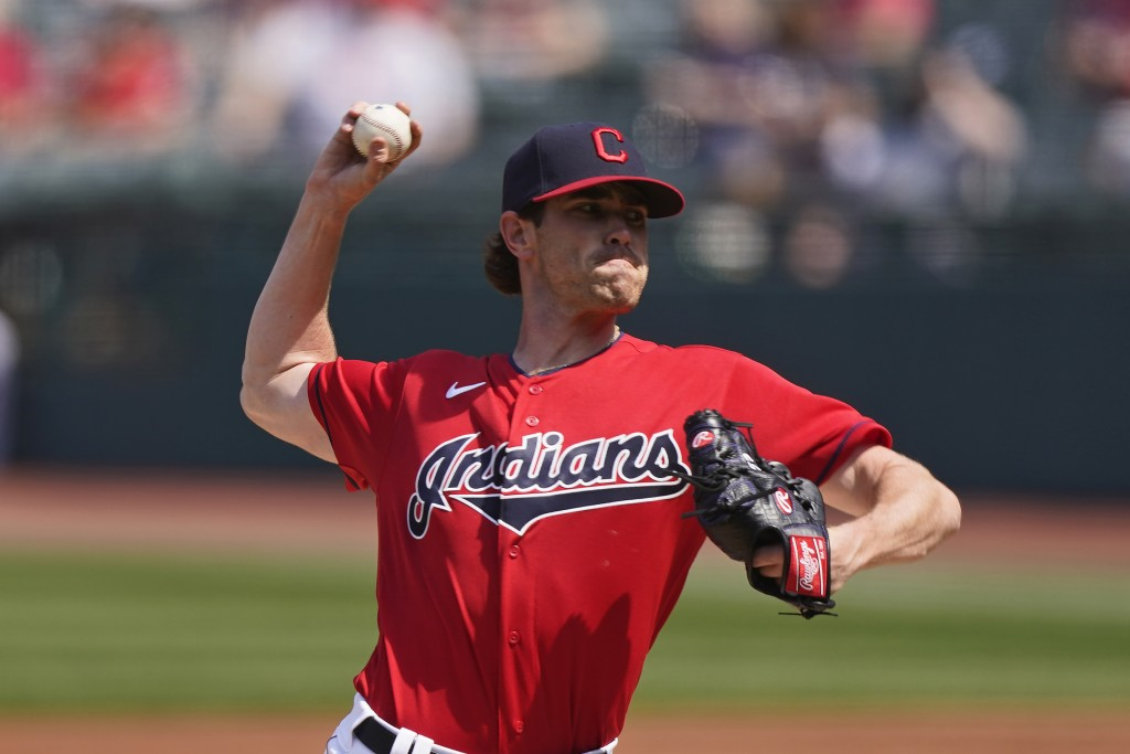 Cleveland Indians starting pitcher Shane Bieber delivers in the first inning of a baseball game against the Kansas City Royals, Wednesday, April 7, 20...