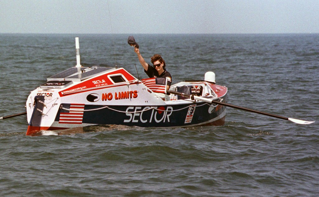 FILE - Rower Tori Murden, of Louisville, Ky., waves from her boat off North Carolina's Outer Banks, near Nags Head, N.C. , on June 14, 1998. A musical...