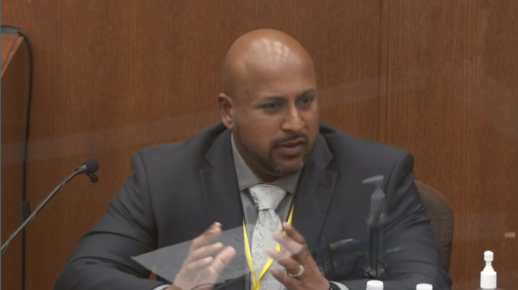 In this image from video, witness Senior Special Agent James Reyerson of the Minnesota Bureau of Criminal Apprehension testifies as Hennepin County Ju...