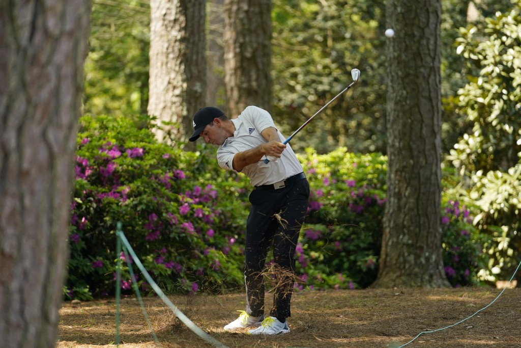 Sergio Garcia, of Spain, hits out of the rough on the 14th fairway during a practice round for the Masters golf tournament on Wednesday, April 7, 2021...