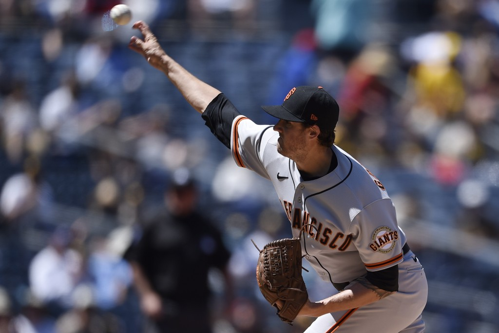 San Francisco Giants starting pitcher Kevin Gausman delivers during the first inning of a baseball game against the San Diego Padresin San Diego, Wedn...