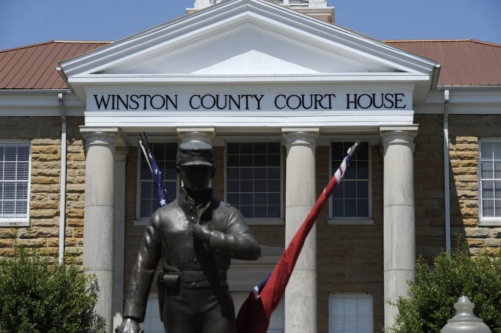 A Civil War monument dedicated to both Union and Confederate soldiers stands outside the Winston County Courthouse in Double Springs, Ala., Monday, Ap...