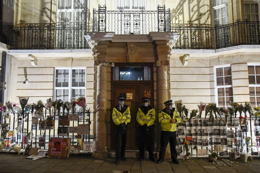 Police officers patrol outside the Myanmar Embassy in London, Wednesday, April 7, 2021. Newspaper reports say the embassy was taken over by members of...
