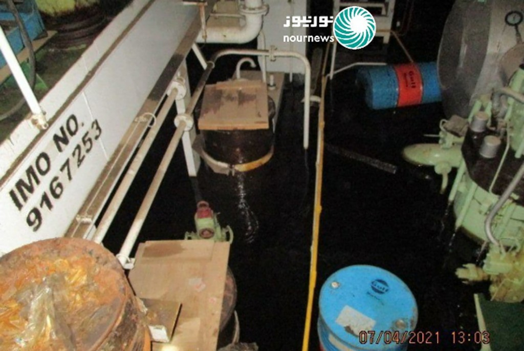 This photo released by Nournews on Thursday, April 8, 2021, shows the flooded engine room of the Iranian ship MV Saviz after being attacked in Red Sea...