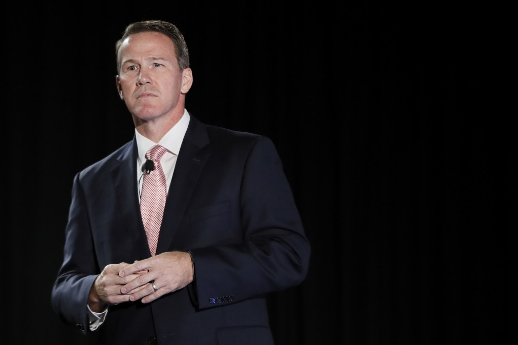 FILE - In this Oct. 16, 2018, file photo, Jon Husted, then a candidate for Ohio Lt. Governor, speaks at the Columbus Chamber of Commerce Government Da...