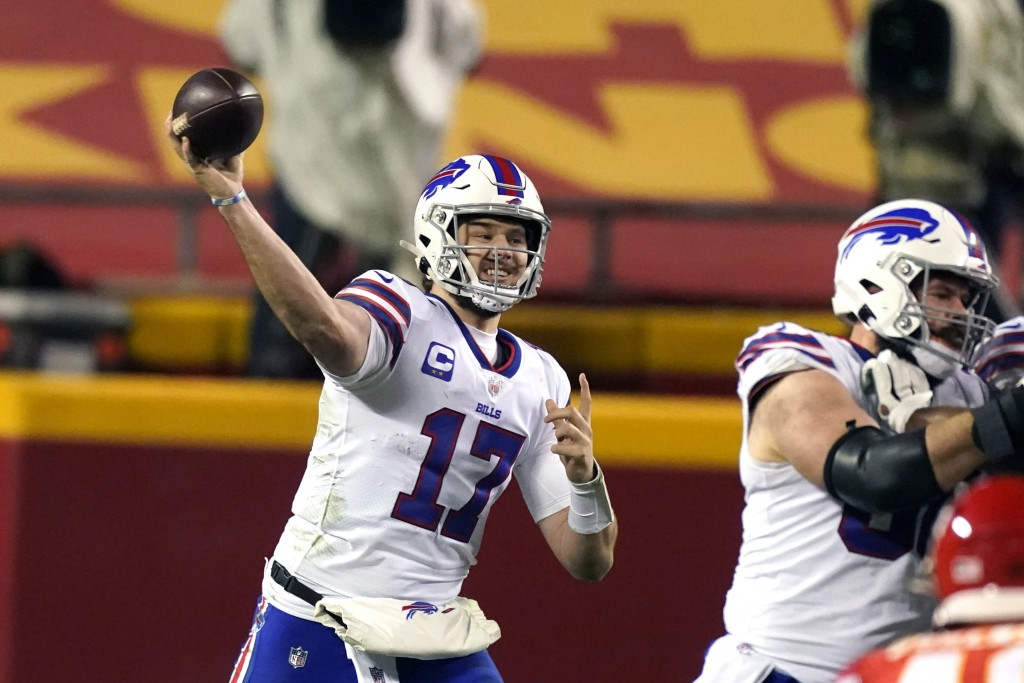 FILE - In this Sunday, Jan. 24, 2021 file photo, Buffalo Bills quarterback Josh Allen throws a pass during the second half of the AFC championship NFL...