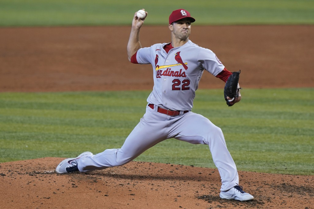 St. Louis Cardinals starting pitcher Jack Flaherty (22) throws during the third inning of the team's baseball game against the Miami Marlins, Wednesda...