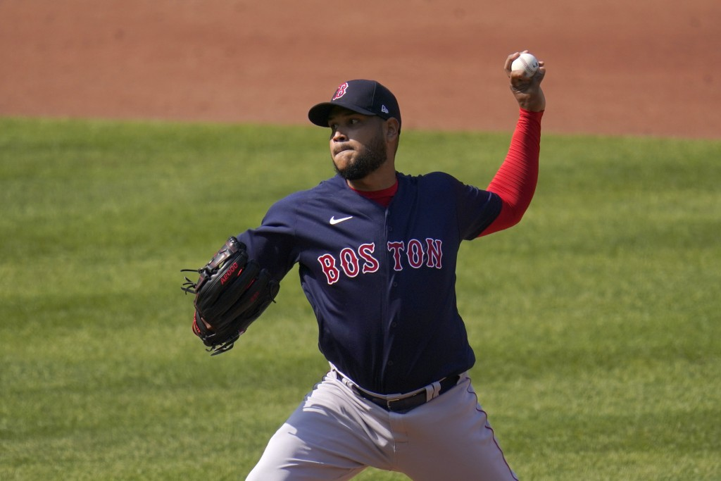 Boston Red Sox starting pitcher Eduardo Rodriguez throws a pitch against the Baltimore Orioles during the first inning of a baseball game, Thursday, A...