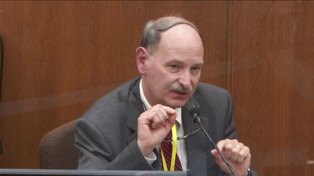 In this image taken from video, witness Dr. Bill Smock, a Louisville physician in forensic medicine, testifies as Hennepin County Judge PeterCahill p...