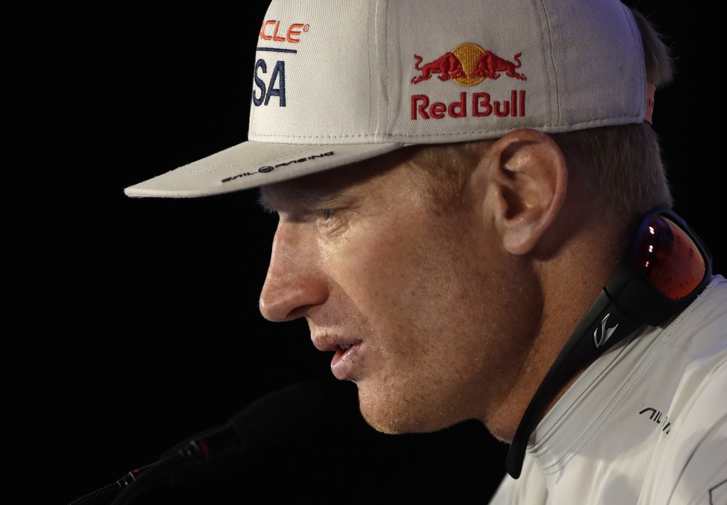 FILE - In this Monday, June 26, 2017, file photo, Oracle Team USA skipper Jimmy Spithill answers questions during a news conference following his team...