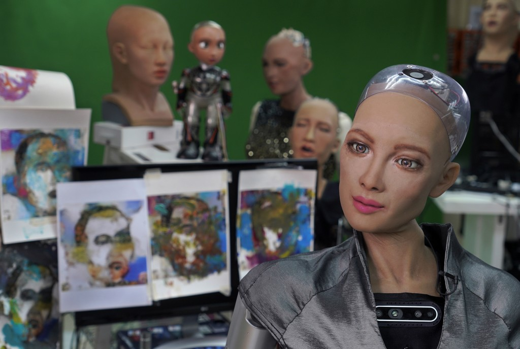 Sophia answers questions at Hanson Robotics studio in Hong Kong on March 29, 2021. Sophia is a robot of many talents — she speaks, jokes, sings and ev...