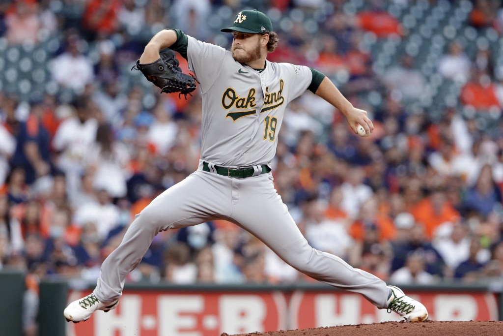 Oakland Athletics starting pitcher Cole Irvin winds up during the first inning of the team's baseball game against the Houston Astros on Thursday, Apr...