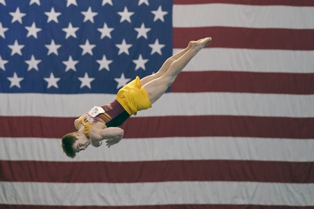 Michael Moran, representing the University of Minnesota, competes during the Winter Cup gymnastics event Sunday, Feb. 28, 2021, in Indianapolis. A jun...