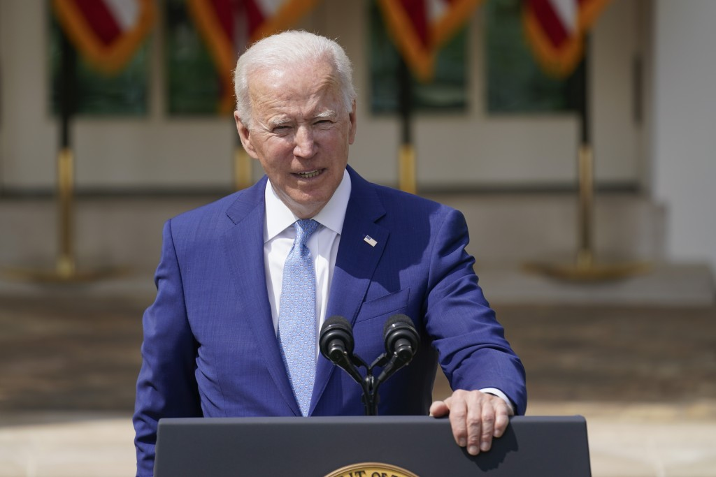 President Joe Biden speaks about gun violence prevention in the Rose Garden at the White House, Thursday, April 8, 2021, in Washington. (AP Photo/Andr...