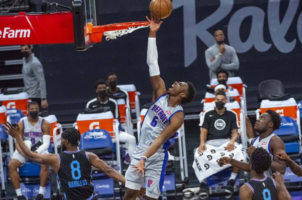Detroit Pistons guard Hamidou Diallo (6) lays the ball up against the Sacramento Kings during the first quarter of an NBA basketball game in Sacrament...