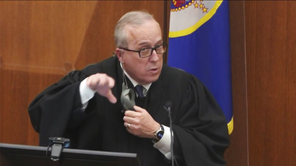 In this image taken from video, Hennepin County Judge PeterCahill presides Thursday, April 8, 2021, in the trial of former Minneapolis police Officer...
