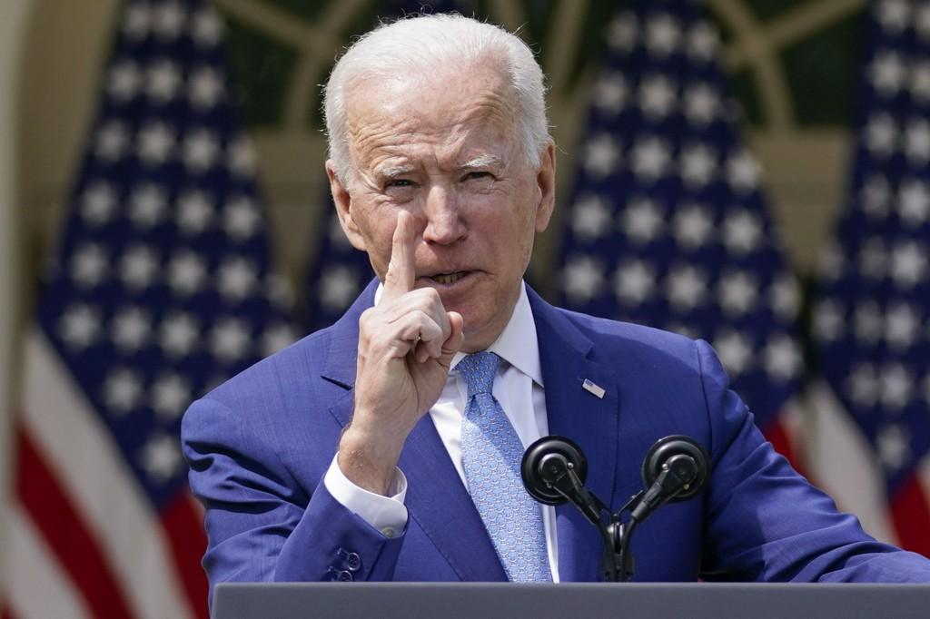 President Joe Biden gestures as he speaks about gun violence prevention in the Rose Garden at the White House, Thursday, April 8, 2021, in Washington....