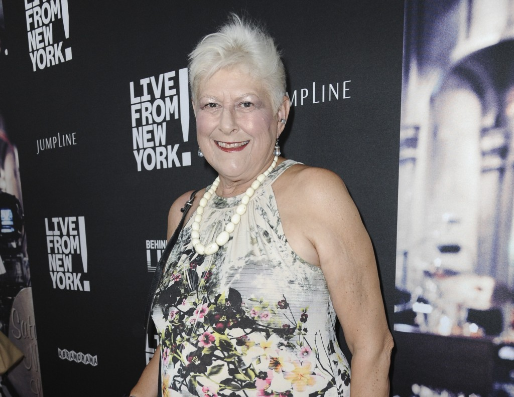 """FILE - Anne Beatts arrives at the premiere of """"Live from New York!"""" in Los Angeles on June 10, 2015. Beatts, a groundbreaking comedy writer who was on..."""
