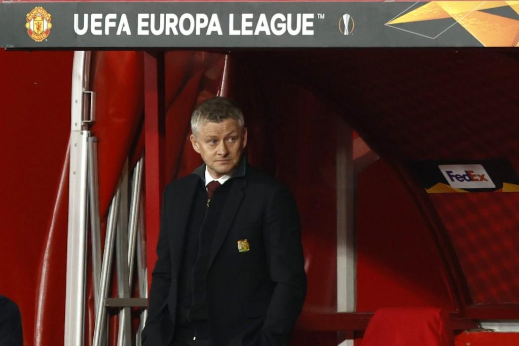 Manchester United's manager Ole Gunnar Solskjaer stands near the bench during the Europa League, quarterfinal, first leg soccer match between Granada ...