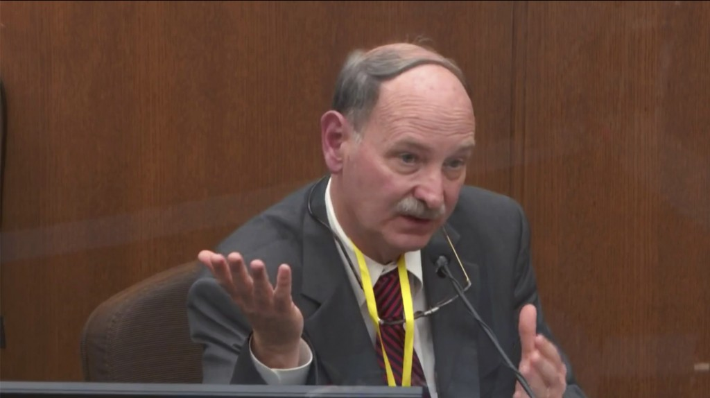 In this image taken from video witness Dr. Bill Smock, a Louisville physician in forensic medicine testifies as Hennepin County Judge PeterCahill pre...