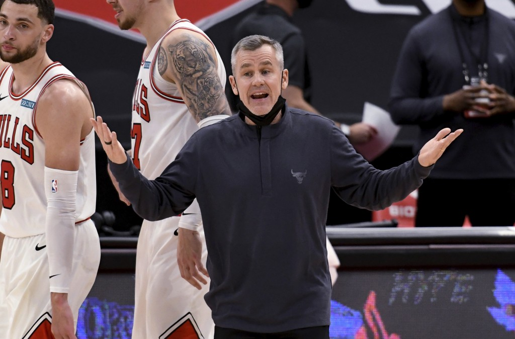 Chicago Bulls coach Billy Donovan yells during the second half of the team's NBA basketball game against the Toronto Raptors on Thursday, April 8, 202...