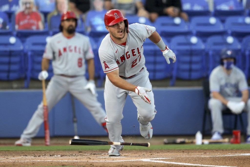 Los Angeles Angels' Mike Trout doubles during the first inning of a baseball game against the Toronto Blue Jays Thursday, April 8, 2021, in Dunedin, F...